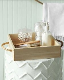 tray like this with sea glass mosaic bottom to use for condiments, etc.   Rope-Handled Caddy - Martha Stewart Decorating
