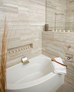 Vein cut travertine bathroom design ideas, pictures, remodel, and decor Bathroom Tile Gallery, Bathroom Tile Designs, Bathroom Design Small, Bath Design, Bathroom Interior Design, Bathroom Ideas, Travertine Bathroom, Stone Bathroom, Natural Bathroom