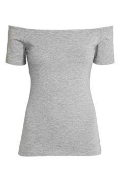 Off-the-shouldertop: Een off-the-shouldertop van katoenen tricot met korte mouwen.