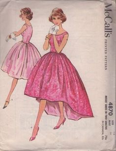 1950's McCall's 4870 Off Shoulder Evening Dress Pattern B34 - Off-shoulder dress with fitted bodice and full, gathered, four-gore skirt. Skirt may be street length ...