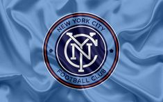 Download wallpapers New York City FC, American Football Club, MLS, USA, Major League Soccer, emblem, logo, silk flag, New York, football