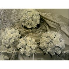 BRIDAL PACKAGE BRIDE /3 BRIDESMAIDS IVORY FOAM ROSES HAND CRAFTED MADE TO ORDER on eBid United Kingdom