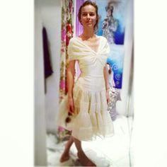 Eva Herzigova wearing Oscar de la renta vintage clothes in Wonderland vintage store in Capri