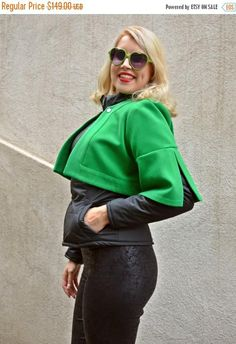 Check out this item in my Etsy shop https://www.etsy.com/listing/257775298/sale-black-jacket-with-green-bolero