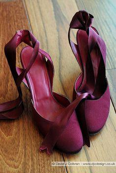 magenta ankle tie pumps