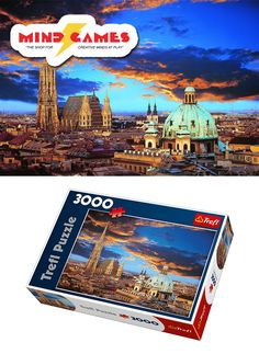 """A beautiful night in Vienna is waiting right for you at the table with the A Night In Vienna 3000 Piece Jigsaw! Feel just as if you were there while piecing together this 3000 piece jigsaw puzzle, featuring Vienna's beautiful city skyline, with St. Stephen's Cathedral dominating the sky  Finished puzzle size: 33"""" x 45""""  The A Night In Vienna 3000 Piece Jigsaw contains 3000 puzzle pieces and is recommended for ages 12 and up."""