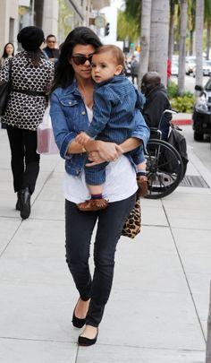 jean jacket + leggings + flats + leopard purse = adorable & chic