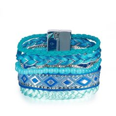 Blue Bohemian Beads Weave Bangle Bracelets ($14) ❤ liked on Polyvore featuring jewelry, bracelets, bracelets bangle, bangle bracelet, blue bangle bracelet, hinged bangle and magnetic jewelry