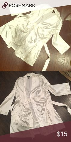 White lingerie robe White lingerie robe. Bought at Macy's. Never worn. Size large/xlarge. 100% polyester. Intimates & Sleepwear Robes