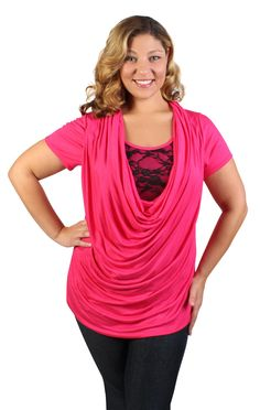 plus size deep cowl tunic 2fer with lace inset