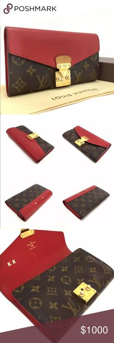 Louis V Monogram Pallas Cerise Bifold Wallet Louis Vuitton Monogram Pallas Cerise Long Bifold Wallet /401 Size  Length  (cm) 19 (approx) / (inches) 7.5 (approx)  Height  (cm) 11 (approx) / (inches) 4.3    ■Color Brown Cerise   ■Serial Number / Date Code:SN2194  ■Details  Authentic Louis Vuitton Monogram Pallas Cerise Long Bifold Wallet /401. Exterior/ Interior: Normal wear  The Over all is very good condition. Comes with: Box an Dust bag. HW partially tarnished Louis Vuitton Bags Wallets