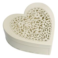 dotcomgiftshop CREAM FILIGREE HEART SHAPED SMALL TRINKET JEWELLERY STORAGE BOX