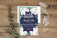 The perfect invitation for your Southern Belle Baby! Navy, mint & peach, these magnolia flower invites are sure to be a hit! Order as a DIY printable or have them printed+shipped. www.etsy.com/shop/junearbordesigns   #babyshower #babyshowerinvitation #floralbabyshower #diybabyshower #southernbellebaby #magnoliababyshower #babygirlinvites #showerinvites #navyshowerinvitation #watercolorfloral #magnolia #navybabyshower #peachandmint #mintandpeach #floralshowerinvitations #etsy