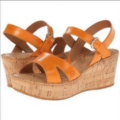 109de74fc631 🆕Born Du Jour Orange Cork Wedge Sandal Size 6 Very cute and flirty Born  light orange cork wedge sandal