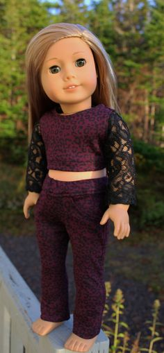18 inch doll clothes black lace sleeve crop by magoogesmusedesigns