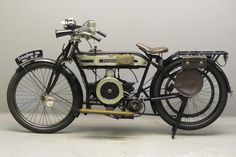 "Douglas 1914 2 ¾ HP 347 cc s. flat twin "" Model U Antique Motorcycles, British Motorcycles, Triumph Motorcycles, Vintage Cycles, Vintage Bikes, Old Cycle, Twin Models, Side Car, Motorised Bike"