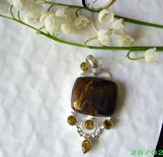 Sterling silver amulet pendant 925 stamped~Natural Bronzite Gemstone~PRETTY*Gift