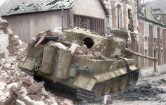 Tiger of SS-PzAbt.101 destroyed in Normandy, Villers Bocage, 1944.