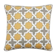 "Moroccan Pillow 22"" - Steel/Citrus from Z Gallerie"