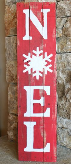Perfect for my front porch!  NOEL Reclaimed Wood Sign, Rustic Christmas Decor, Red and White, hand-painted, Christmas decoration, Christmas wall art, distressed, Christmas porch decor #ad