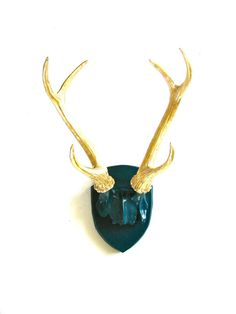 Faux Antlers Plaque Wall Hanging Rustic Modern Wall Mount Wall Decor in peacock blue with glistening gold antlers Home Decor