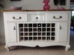 You are not even going to believe this amazing dresser to wine rack DIY project from reader Brandi! She took an old dresser and turned it into a wine rack. She used Annie Sloan chalk paint on Refurbished Furniture, Repurposed Furniture, Furniture Makeover, Wine Rack Cabinet, Wine Rack Wall, Wine Racks, Liquor Cabinet, Dresser To Buffet, Dresser Ideas