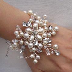 Ivory White Pearls Rhinestones Wide Floral Vine Bridal Cuff Bracelet - Wedding Jewelry Bride Bracelet Bridesmaids B20. $76.00, via Etsy.