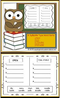 This is a packet to help students practice differentiating between the six types of word syllables--Closed, Vowel-Consonant-e, r-Controlled, Vowel Team, Open, and Final Stable. There are 15 of these graphic organizers in this packet.