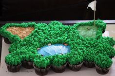 "golf course cupcakes Life Is Sweets: A Treat ""Fore"" The Golf Lovers In Your Life! Pull Apart Cupcake Cake, Pull Apart Cake, Golf Cupcakes, Ladybug Cupcakes, Kitty Cupcakes, Snowman Cupcakes, Giant Cupcakes, Cupcake Torte, Golf Theme"