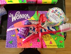 "Charlie & the Chocolate factory ""Wonka Party"" favor for my girls Birthday party...complete with ""fizzy bubbles"" & a toothbrush to scrub your teeth after all of that candy :)"