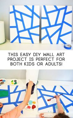 Kids Canvas Art DIY - all crafty things Kids Canvas Art, Canvas Crafts, Diy Canvas, Art Wall Kids, Diy Wall Art, Art Kids, Canvas Ideas Kids, Canvas Paintings For Kids, Canvas Art Projects