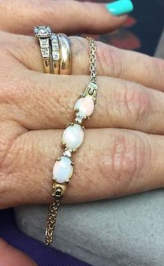 Vintage Estate 14k Yellow Gold Fiery Opal Diamond Bismark Chain Bracelet