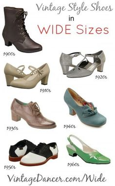 Where to buy vintage style wide shoes sizes at http://vintagedancer.com