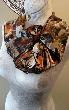 Vintage Retro Chiffon Velcro Fashion Neck Scarf Collar Neutral Shades #Unbranded #Vintage