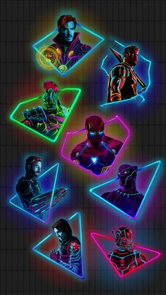 "Edit of the ""neon marvel"" characters (original art by Aniket Jatav) Marvel Avengers, Marvel Fan Art, Marvel Memes, Marvel Dc Comics, Marvel Comic Universe, Marvel Cinematic Universe, Comics Universe, Marvel Infinity, Infinity War"