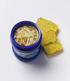 Instant Corn and Red Pepper Chowder - In a med-sized pot bring 1½ cups vegetable stock to a boil. Stir in ¼ cup instant mashed potato flakes. Add ½ cup frozen corn & 1 chpd roasted red pepper from a jar. Simmer until thickened. Pour into 2 8-oz. thermos. Send with grated cheese to add on top at school and a cornmeal muffin for dipping. Tip: place freezer bag in thermos, place meal, seal for single servings.