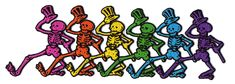 PATCH - GRATEFUL DEAD XL RAINBOW SKELETONS IN LINE PATCH