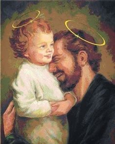 Jesus Christ and Joseph Catholic Prayers, Catholic Art, Catholic Saints, Religious Art, St Joseph Catholic, Pictures Of Jesus Christ, Religious Pictures, Happy Feast Day, Christian Images