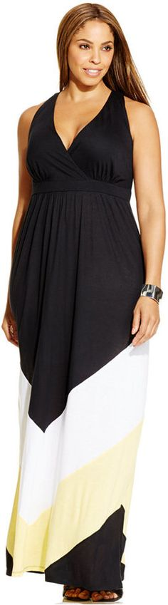 Plus Size Colorblocked Maxi Dress