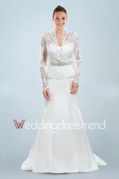 Vintage Draped Beaded Long Sleeves Lace Mermaid Wedding Dress