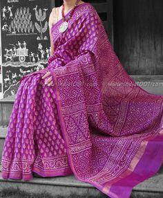 b8790b72848 Elegant Chanderi Saree with Block Printing