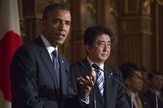 US President Barack Obama (L) speaks as Japanese Prime Minister Shinzo Abe looks on during a bilateral press conference at the Akasaka Palace in Tokyo on April 24, 2014.-WSJ.com