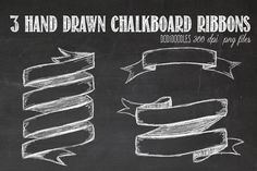 Hand Drawn Chalkboard Ribbons by Dodi Doodles on Creative Market