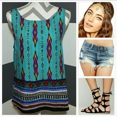 "Playful Aztec print top NWT Brand new, no tags  Playful top with an array of vibrant colors and fun pattern. Pair with shorts and sandals or heels and your are off looking amazing!!  Sexy 5"" slits on the sides Length approx 23"" Bust approx 19"" Top is a loose fit style  Scoop neckline Size medium  No trades Price is firm unless bundled Tops"