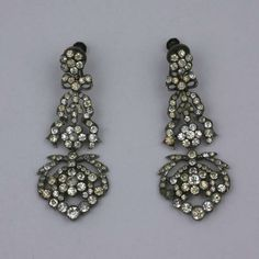 Antique Paste Earrings | From a unique collection of vintage dangle earrings at https://www.1stdibs.com/jewelry/earrings/dangle-earrings/