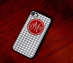 Houndstooth Custom iPhone 4 or 4s Case with Monogram   by hhprint, $22.50