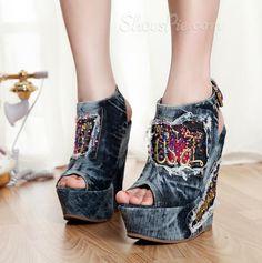 hotness and more Classic Rhinestone Peep-Toe Denim Wedge Sandals