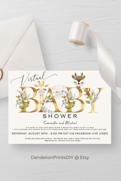 This adorable virtual baby shower invitation features masked animals perfect for your zoom, facebook or drive by baby shower #virtualbabyshower #babyshowerinvitation #babyshower Baby Shower Invitation Templates, Baby Shower Printables, Party Printables, Mail Gifts, Sprinkle Invitations, Virtual Baby Shower, Diy Baby, Beautiful Babies, Baby Showers