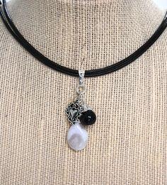 Natural Gemstone White Botswana Black Agate  Pendant Necklace Healing USA #Handmade #ClusterPendant