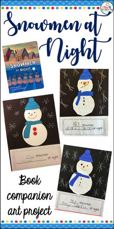 Snowmen at Night writing craft art project. Create a writing book project after reading the book with your class. Inspire your students to imagine what Snowmen do at night. Use the writing prompt and art templates to create a fun and festive winter themed bulletin board display. Crafts To Do, Arts And Crafts, Fictional Characters, Craft Items, Art And Craft, Fantasy Characters, Crafts, Art Crafts, Craft